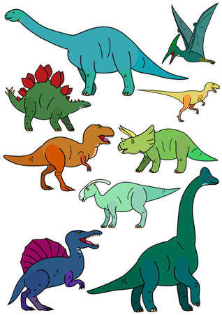 Colorful dinosaur elements set in cartoon illustration.