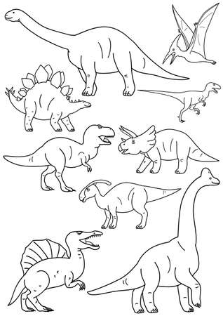 Set of dinosaur line art in cartoon illustration. Illustration