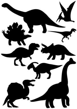Sef of dinosaur in silhouette cartoon illustration.