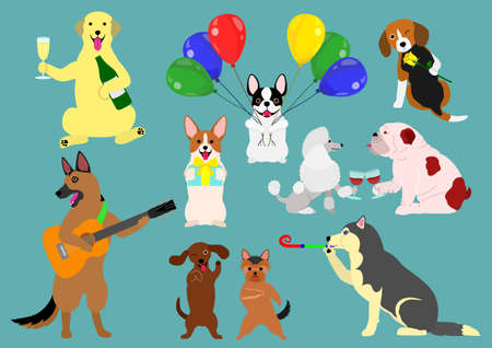 Party dogs celebration on blue background, vector illustration.