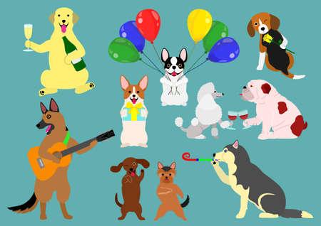 Party dogs celebration on blue background, vector illustration.
