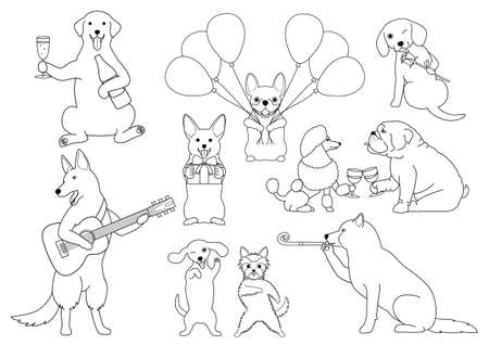 shepard: Party dogs line art on white background, vector illustration.