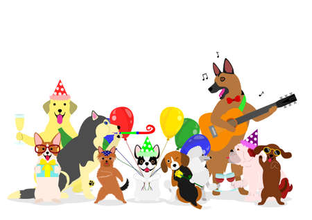 Party dogs group on white background, vector illustration. Illustration