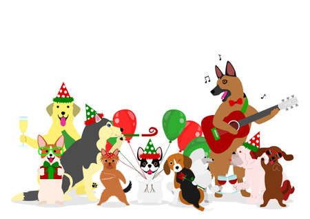 shepard: Christmas dogs group illustration. Illustration