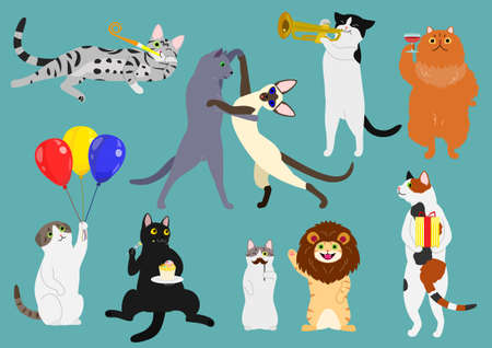 calico: Party animals set illustration.