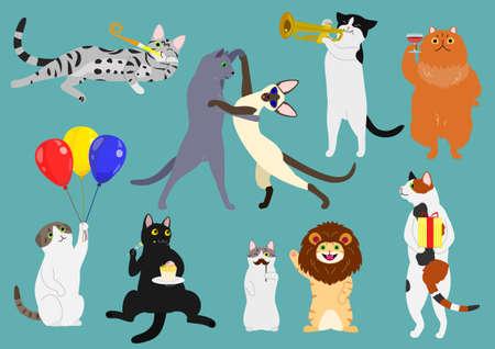 Party animals set illustration.