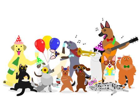 Grupo de perros y gatos de fiesta. Ilustración de vector