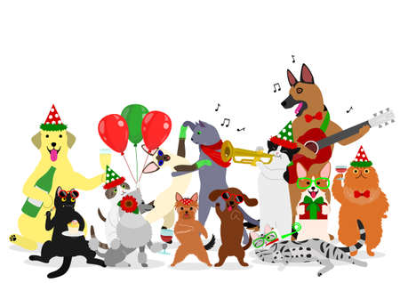 siamese: Christmas cats and dogs group Illustration