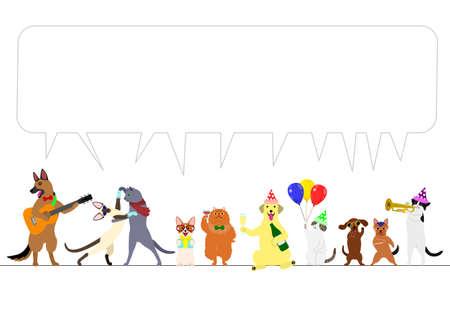 吹き出しとパーティーの犬や猫の国境