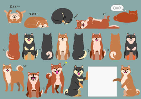 shiba inu elements without outline set