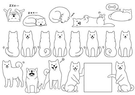 Shiba inu elements line drawing  イラスト・ベクター素材
