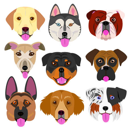 Dog face set with tongue out vector