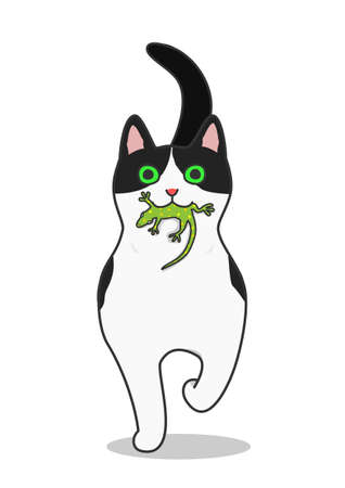 A cat come running with a lizard in its mouth Illustration