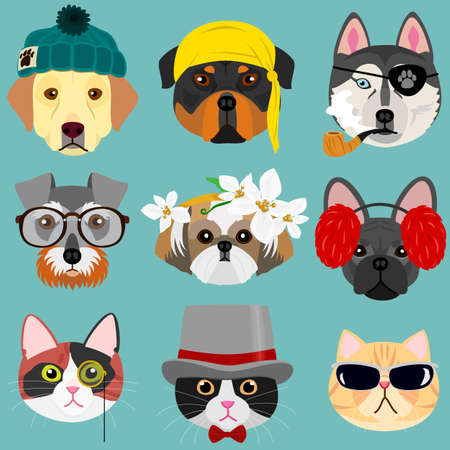 Dog and cat face set in hipster fashion Illustration