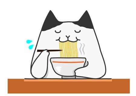 Cat eating noodle Illustration