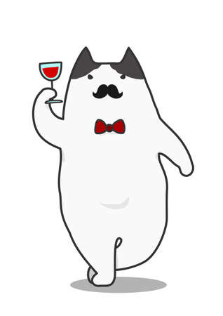 Toasting mustached cat