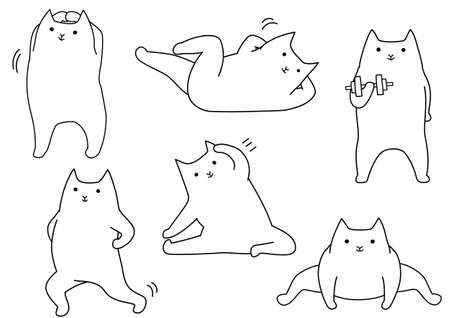 Funny stretching cartoon cat, line art set.
