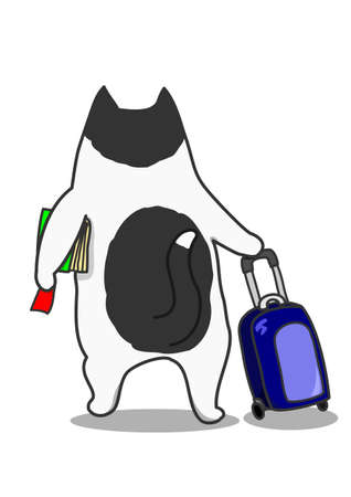 Wanderlust cat. Cartoon Character cat with luggage.