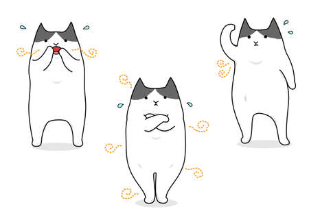 Funny cartoon cat suffering with body odor set.