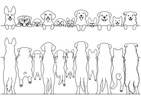 Standing dogs front and back border set Vettoriali