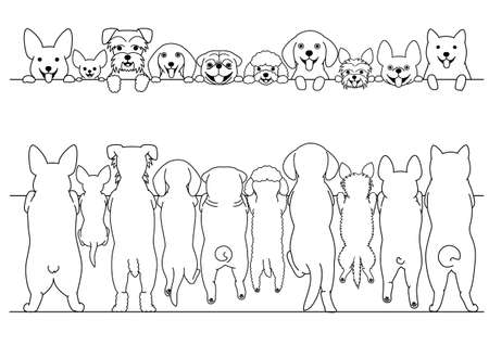 standing small dogs front and back line art border set