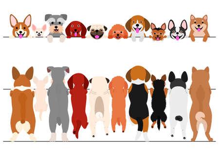 stojące małe psy z przodu iz tyłu zestaw obramowania Ilustracje wektorowe