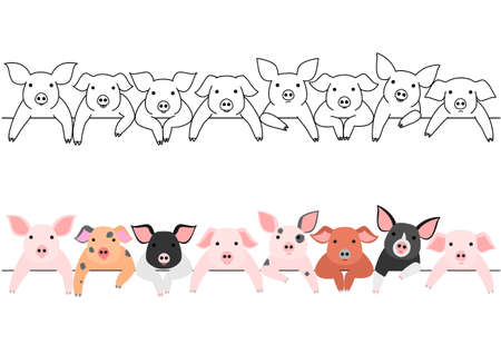 Little pigs border set. 일러스트