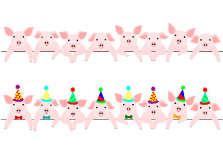 Little pigs border set, with and without party hats. 일러스트