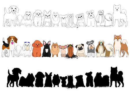 set of small dogs hand drawn borders