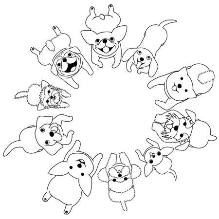 lying small dogs looking up circle