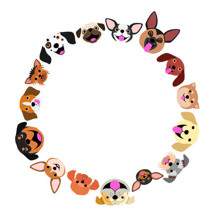 Dogs face circle Stock Illustratie