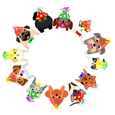 Sitting small dogs and cats with party hats looking up circle.