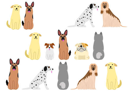 cute dogs set vector illustration Illustration
