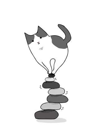 Cat on wobbly stone piles icon. 일러스트