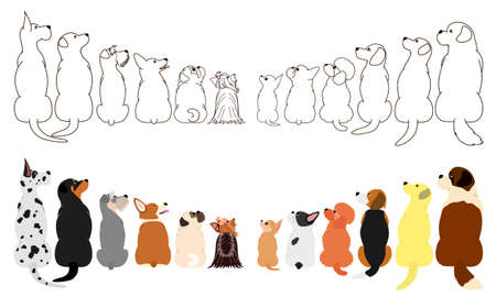 many dogs looking up sideways in two rows Ilustração