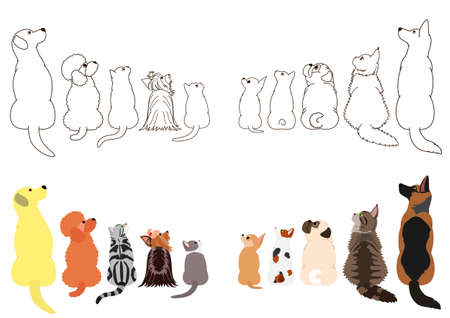 cats and dogs looking up sideways in two rows Illustration