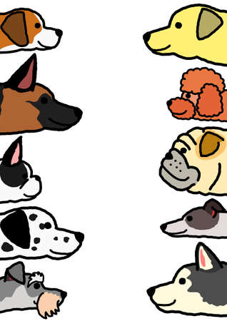 various dogs profile in two vertical rows