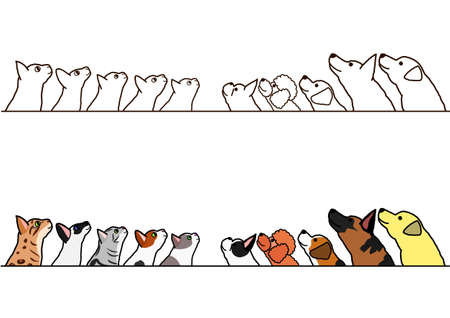 dogs and cats looking up profile border set
