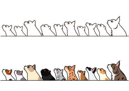 cats looking up profile border set Archivio Fotografico - 103327763