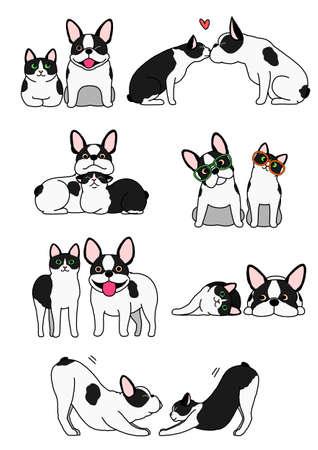 Satz von Katzen- und Hundepaaren