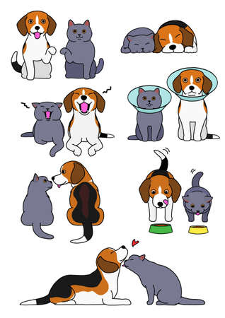 set of cat and dog pairs Stock Illustratie
