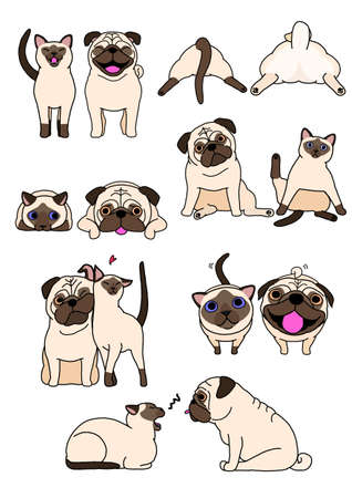 set of cat and dog pairs Ilustrace