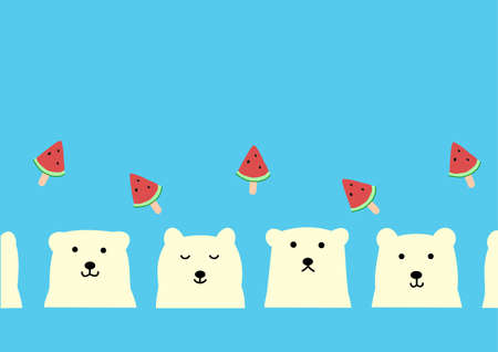 polar bear and watermelon stick background  イラスト・ベクター素材
