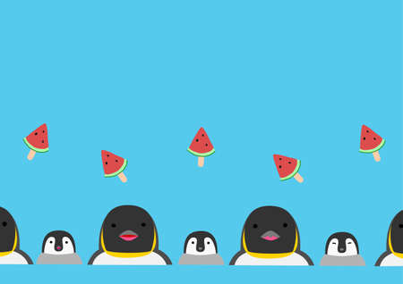 penguin and watermelon stick background  イラスト・ベクター素材