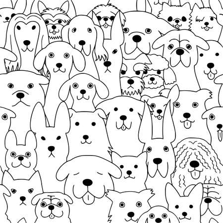 seamless doodle dogs line art background  イラスト・ベクター素材