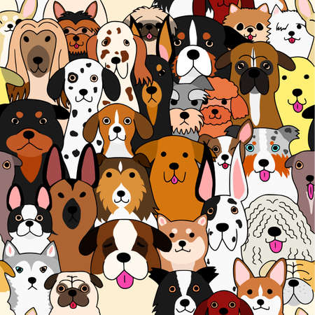 seamless doodle dogs colorful background