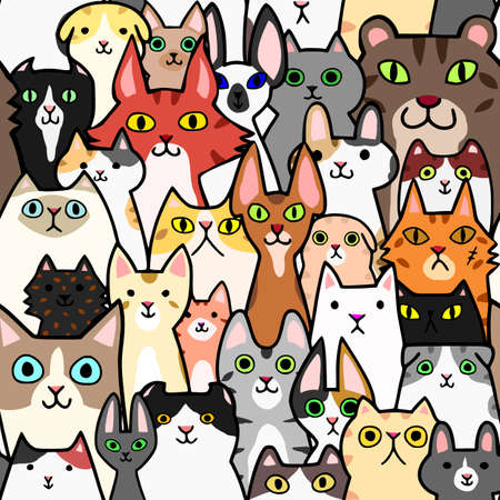 seamless doodle cats faces colorful background  イラスト・ベクター素材