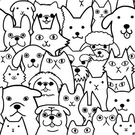 seamless doodle dogs and cats faces line art background