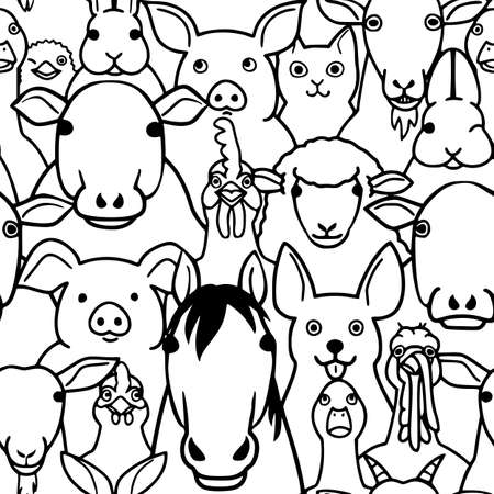 seamless doodle farm animals faces line art background  イラスト・ベクター素材