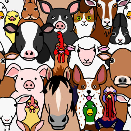 seamless doodle farm animals faces colorful background  イラスト・ベクター素材